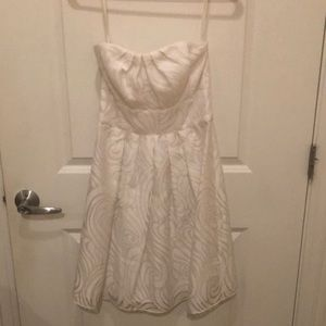 WHBM white strapless dress